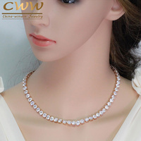 CWWZircons AAA High Quality Cubic Zirconia Stone Setting Rose Gold Color Evening Party Round Chokers Necklaces
