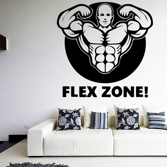 Muscle Man Decals Quotes Flex Zone Art Mural Wallpaper Removalbe Inspiration Flex Quotes