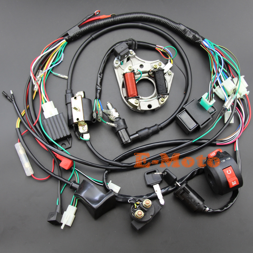 Full Electrics wiring harness CDI Coil Kill Switch C7HSA Spark Plug 50cc  70cc 90cc 110cc 125cc