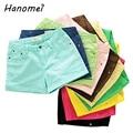 Primavera verano otoño 2017 nuevo color sólido enrollar dobladillo jeans shorts feminino elásticos más tamaño pantalones cortos de mezclilla caliente para mujeres