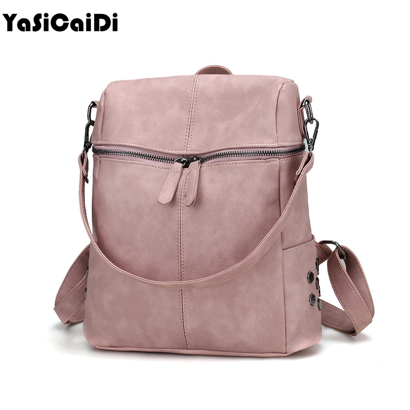 YASICAIDI Simple Style Backpack Women PU Leather Backpacks For Teenage Girls School Bags Fashion Vintage Solid Shoulder Bag Muje 2016 fashion women waterproof pu leather rivet backpack women s backpacks for teenage girls ladies bags with zippers black bags