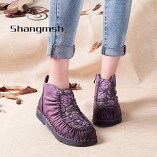 Shangmsh 2017 Handmade Boots For Women Warm Velvet Genuine Leather Ankle Shoes Vintage Mom Women Shoes Retro Martin Boots