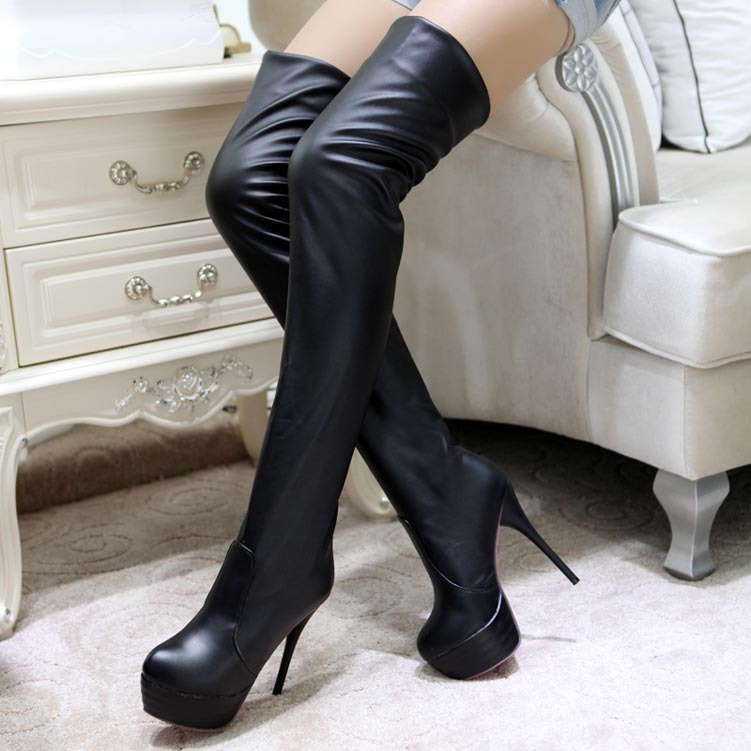 2014 Ladies Autumn Winter Boots High Heels Women Sexy