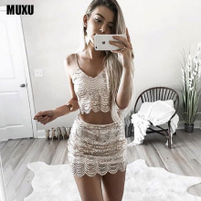 womens sexy dresses party night club dress two piece sequin vestidos mujer moda feminina summer robe moulant