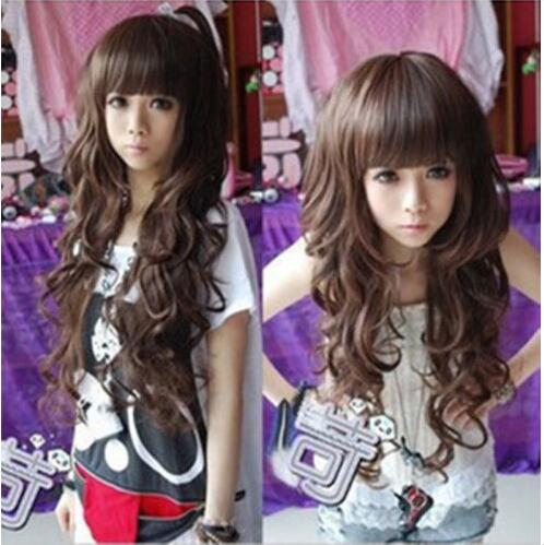 Korean Fashion Long Curly/straight Cosplay Party Women Girl Kawaii Hair Full Wig charming 100cm long glossy straight side bang harajuku anime synthetic cosplay wig for women