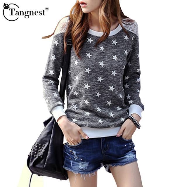Tangnest mulheres rendas camisas 2017 chegada nova primavera outono casual estrelas patchwork o pescoço de manga longa das senhoras da moda tops wtl769