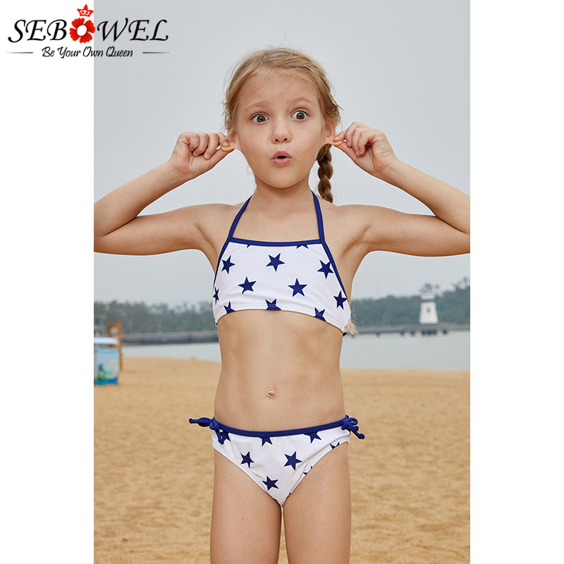 a0834cd394 SEBOWEL Cute Halter Neck Girls Bikini Set Two Pieces Swimsuit Blue ...
