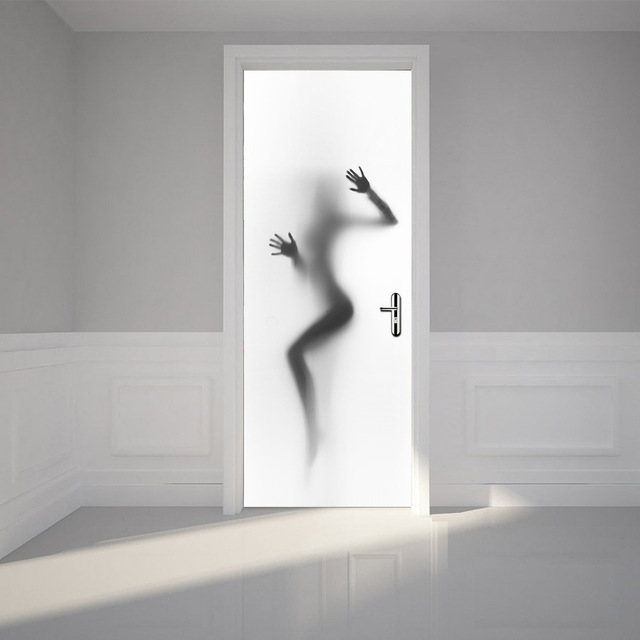 Newest 2pcs Set 3D Sexy Woman Silhouette DIY Door Art Mural Stickers Home Decor Creative Wall Sticker For Bathroom Posters