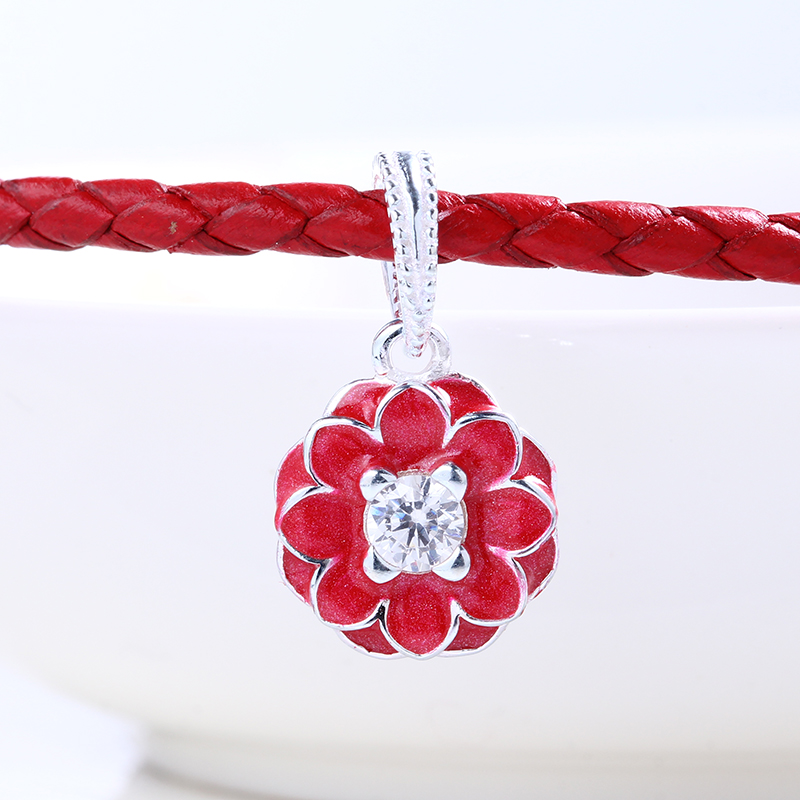 Summer High Quality Authentic Red Flower charms silver S925 Logo Fit Pandora Bracelet 925 original Beads for jewelry Making Gift