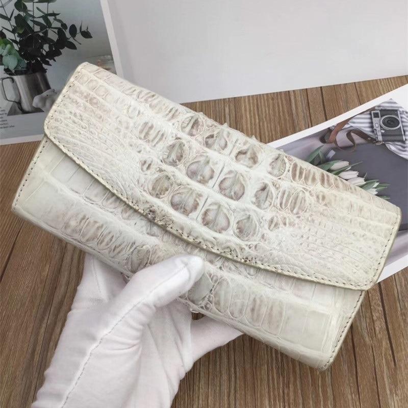 Exotic Genuine Crocodile Skin Women Card Purse Lady Large White Trifold Wallet Real Alligator Leather Female