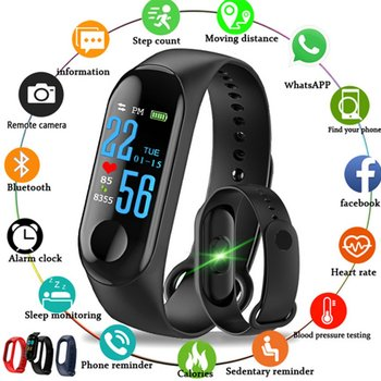 M3S OLED Color Screen Fitness Tracker IP67 Waterproof Smart Band Heart Rate Monitor Smart Bracelet Band Clock Men Watches Children Watches