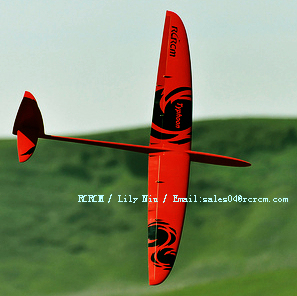 Typhoon 2m competition rc glider with fiberglass in red-black color