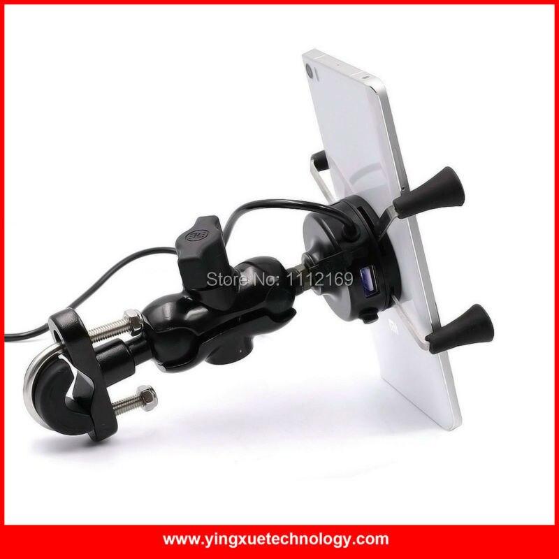 imágenes para Universal de la motocicleta scooter manillar espejo retrovisor soporte para teléfono celular cargador usb para iphone 6 s, 6 S Más, galaxy s7
