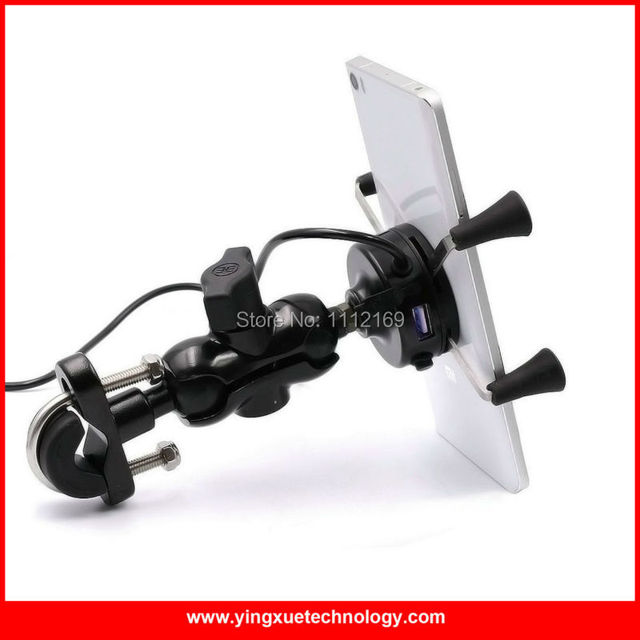 Uniwersalny Motocykl Skuter Uchwyt Bar Lustro Widok Z Tyłu Zamontować Uchwyt Na Telefon Komórkowy Ładowarka USB dla iPhone 6 S, 6 S Plus, Galaxy S7