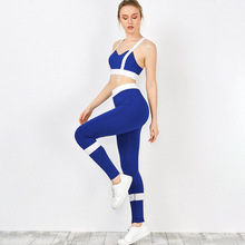 2Pcs Women Yoga Sets Fitness Halter Bra+Pants Leggings Set Gym Workout Sexy Sports Wear Patchwork Blue White Running Clothing  sexy sports bra and leggings