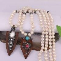 4 Unids hecho a mano largo collar de perlas collar de cuentas, rhinestone de la manera collar pendiente de madera, punta de flecha colgante collar de la joyería al por mayor
