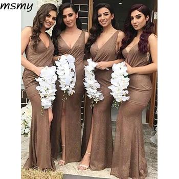 Simple Mermaid V-Neck Bridesmaid Dresses Sleeveless Side Slit Cheap Long Bridesmaid Dresses Custom Made