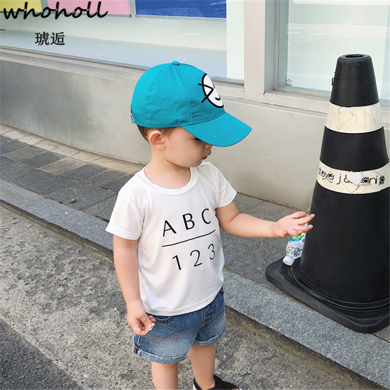 WHOHOLL Kid T-shirts Boys T-shirts Girl Short Sleeves Top Tee Letter Printing ABC 2018 Summer Clothes New Baby Mordell Blouses