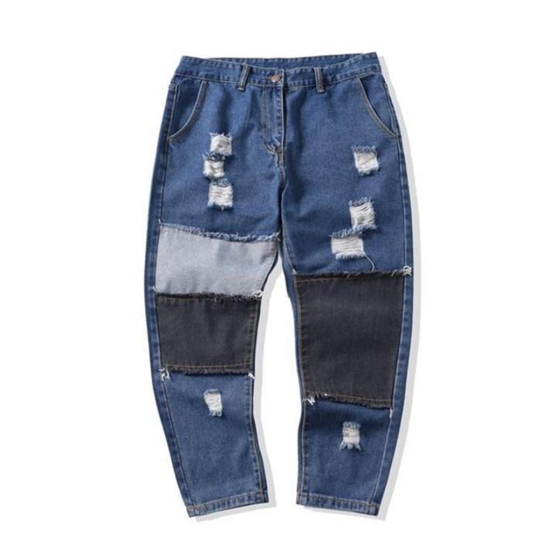 2017 Spring Mens Fashion Denim Pants Blue Hole Rip Zipper Harem Jeans Slim Fit Pockets Style Trousers For Man's Wear Brand