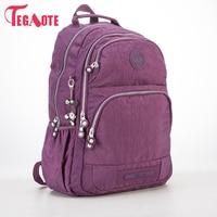 TEGAOTE School Backpack For Teenage Girls Nylon Women Mochila Feminine Backpack Female Solid Fashion Casual Laptop