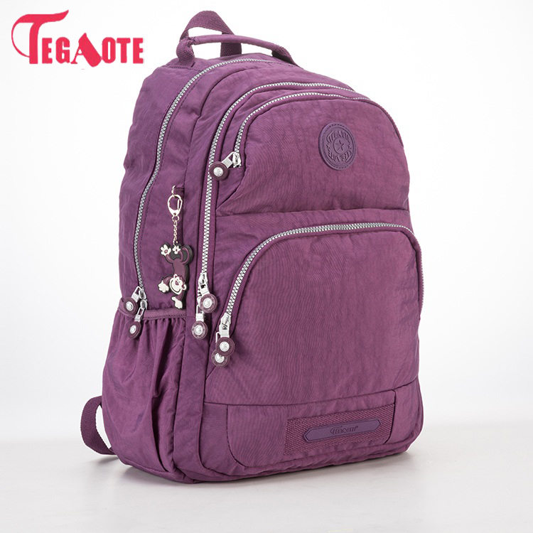 TEGAOTE School Backpack for Teenage Girls Nylon Women Mochila Feminine Backpack Female Solid Fashion Casual Laptop Bagpack 1373 tegaote nylon waterproof school backpack for girls feminina mochila mujer backpack female casual multifunction women laptop bag