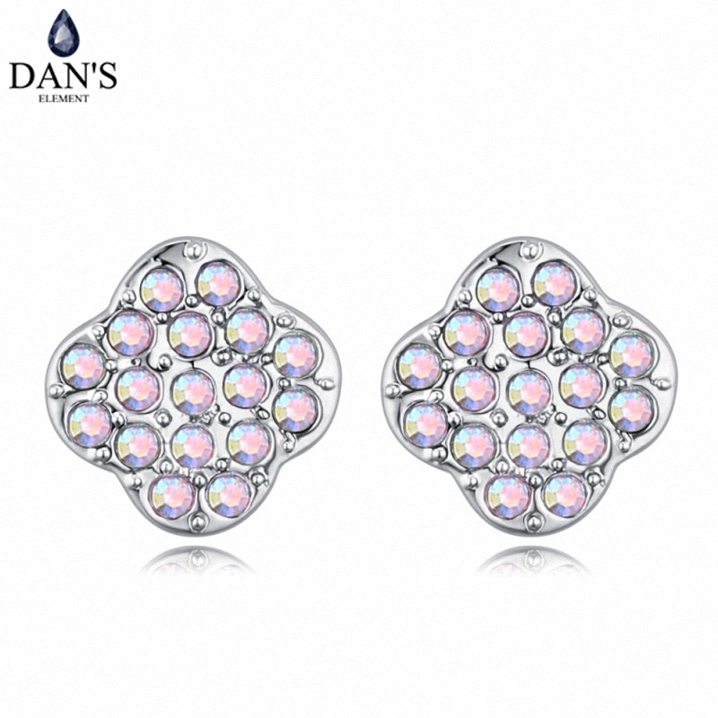 DANS 6 Colors Real Austrian crystals Stud earrings for women Earrings s New Sale Hot Round 128945