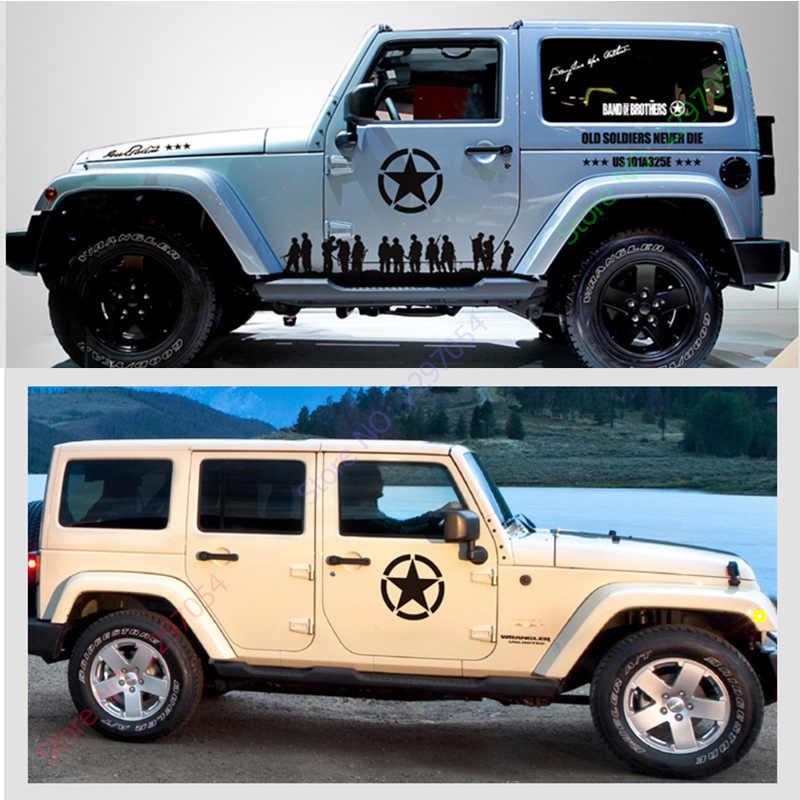 กองทัพสหรัฐฯห้าแฉกดาวออกแบบสติ๊กเกอร์ตกแต่งบนผนังรถสำหรับรถจี๊ปแรงเลอร์และอื่นๆ,พี่น้องสไตล์สติ๊กเกอร์รถและd ecalsป้าย