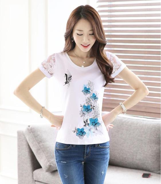 Blusas Femininas 2016 Nova Moda Plus Size Camisas S-3XL Mulheres Cotton O Pescoço Impresso Tops
