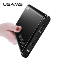 USAMS 10000mAh Power Bank Portable Battery USB Charger Universal PowerBank Phone Charger Bank Power