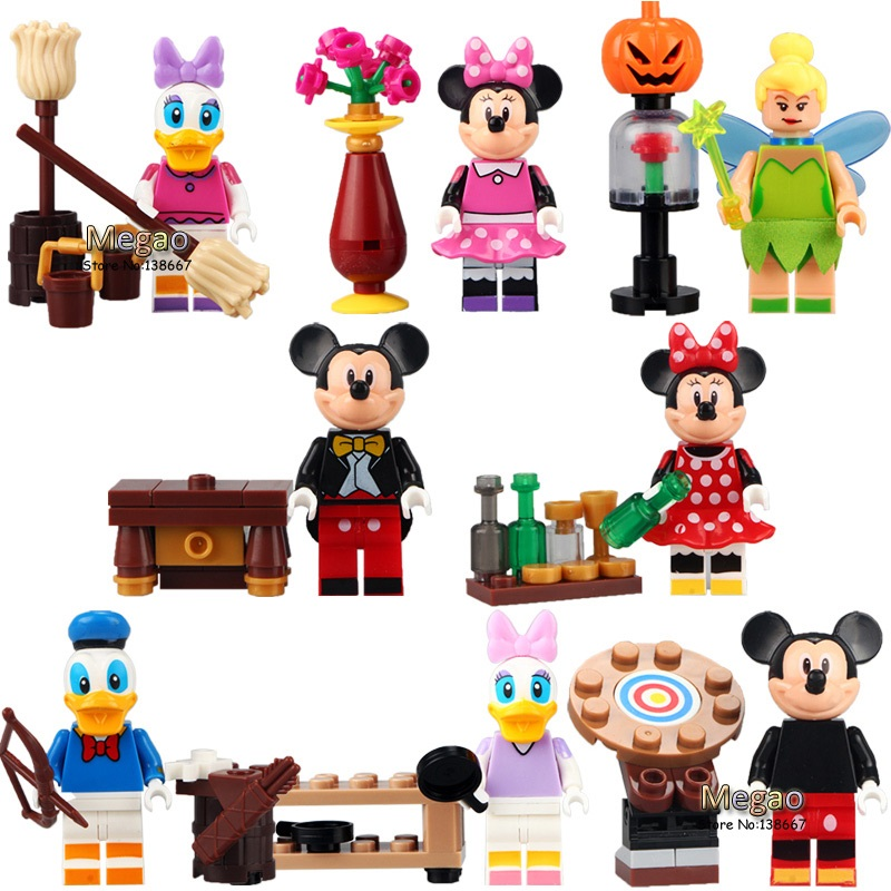 8pcs/lot LELE 37005 Cartoon  Mickey Minnie Donald Duck Daisy Tinker Bell Mini Dolls Building Blocks Learning Toys