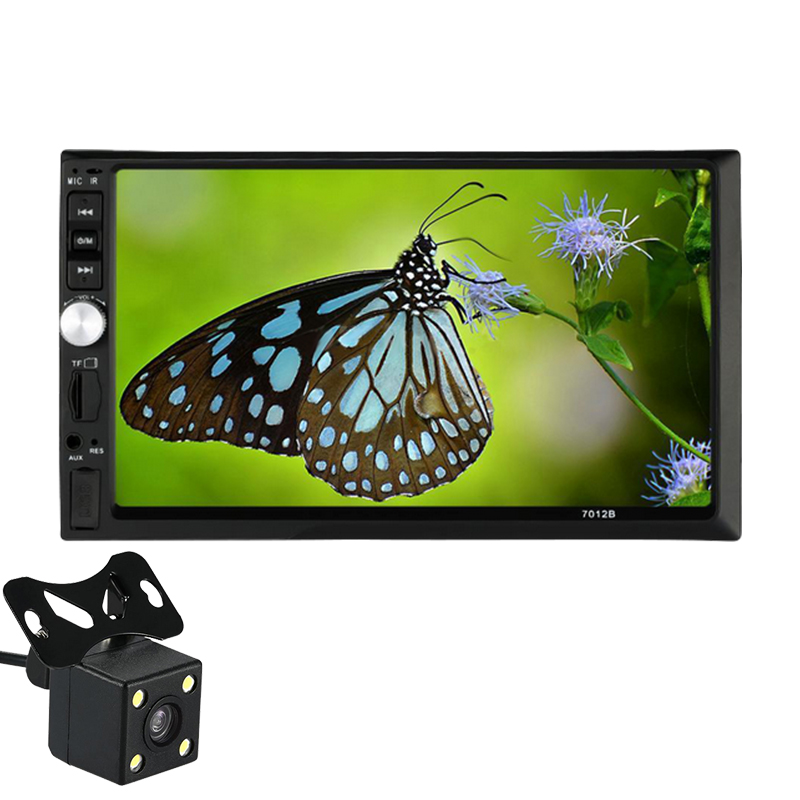 ФОТО 2017 Newest Car 7 Inch 2 Din Bluetooth Touch Screen Player Universal 7012B Car Vedio MP5 Player AUX FM USB + View Rear Camera