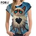 FORUDESIGNS Summer Harajuku T Shirts Kawaii Grumpy Cat Printed T-Shirt 3D Women Short Sleeve Tees Shirt Clothes Camisetas Mujer