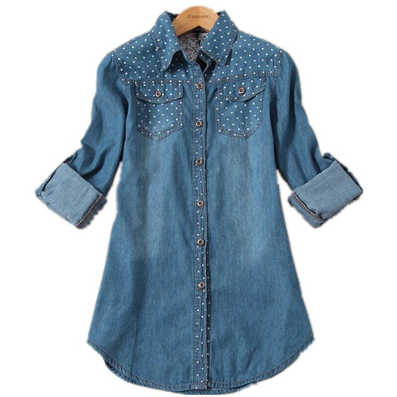 2017 Autumn Women s Clothes Plus Size Polka Dot Denim Shirt Female Long sleeve Blouse Women