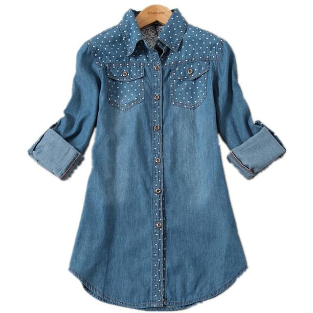 2017 autumn women's clothes plus size polka dot denim shirt female