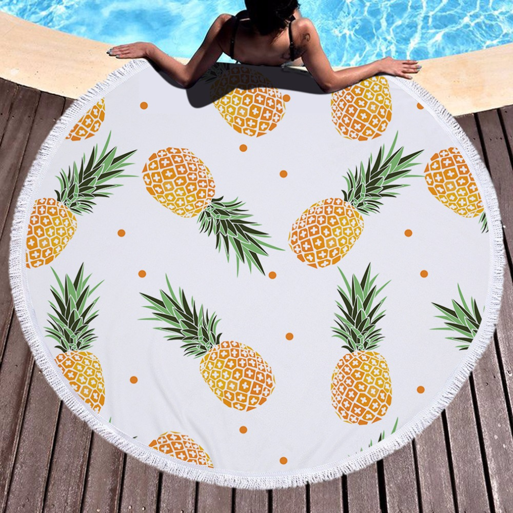 2018 High Quality Round Beach Towel With Tassels Soft Microfiber 150cm Pineapple Printed Towel For Beach Blanket Mat Tapestry