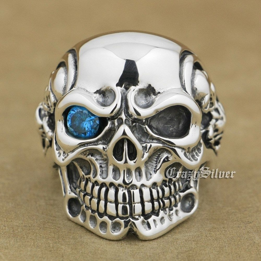 925 Sterling Silver Titan Blue CZ Eye Skull Mens Biker Ring sterling-silver-jewelry 8V105 US Size 8~14 titan euro silver 63ач обр
