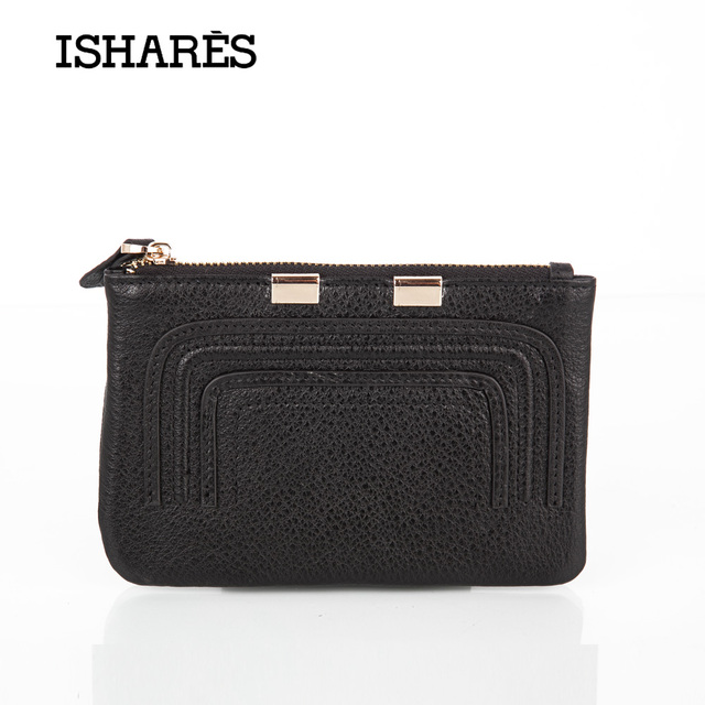 ISHARES Exquisite Genuine Cow Leather Short Wallet Fashion  Women men Mini Purse Simple High Quality coin key card Holder IS6119