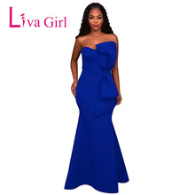 LIVA GIRL Evening Party Maxi Dress Women Off Shoulder Backless Oversized Bow Applique Formal Long Dresses Vestido Robe De Soiree