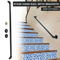 100cm Industrial Retro Bookshelf Black Wall Ceiling Mounted Open Bookshelf Parts Bracket Iron Pipe Shelf Stair Bathroom Handrail