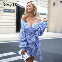 Simplee Off Shoulder Lantern Sleeve Wrap Dress Blue Stripe Bow Belt Sexy Dress Autumn Winter Plaid