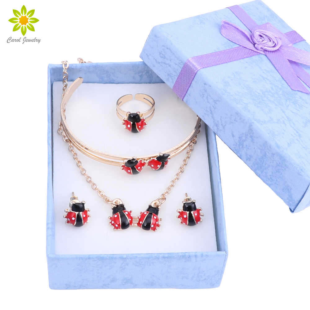 Gold-Color Kids Jewelry Sets Ladybug Pendant Necklace Bangle Bracelet Ring Baby Earrings Fashion With Gift Boxes