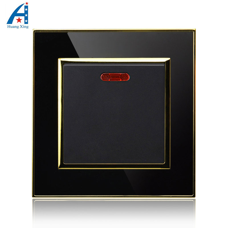 UK Standard Push button and 20A 1 Gang electric light switch, Black Crystal acrylic panel wall switch, With LED indicator 220V доска гладильная eurogold 16030 z ok