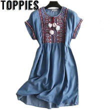 389151c26184 Toppies Women 2018 Summer Bohemian Tribal Style Denim Dress Knee-Length  Jeans Dress