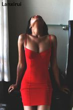 Summer Dress Sexy Women Dress Vestidos Spaghetti Strap Package Pencil Bodycon Solid Sexy Mini Party Dresses Red S -Xl