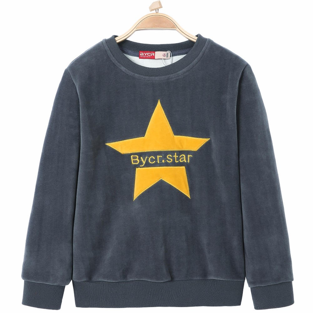 Star Letter Pattern Printed Thermal Velvet Round Neck Sweatshirts Flannel Shirts for Teen Boys Girls Kids Children Teen Pullover