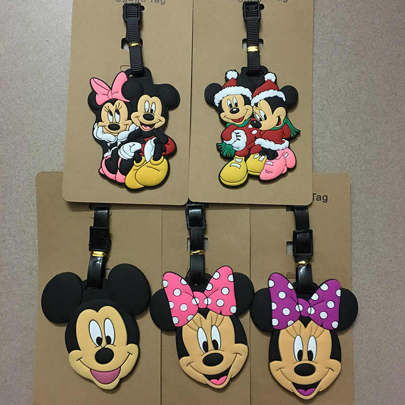 Disney cartoon baby hek Mickey Mouse Koffer ID Adres Holder Bagage Boarding Tags draagbare label reizen bagage PVC tag