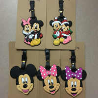 Disney cartoon baby fence Mickey Mouse Suitcase ID Address Holder Baggage Boarding Tags portable label travel luggage PVC tag