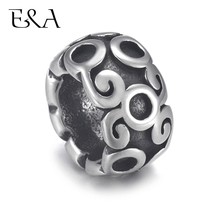 4pcs Stainless Steel Drum Bead Charms  Scroll 8mm Large Hole for Leather Jewelry Bracelet Making Metal Beads DIY Supplies Parts