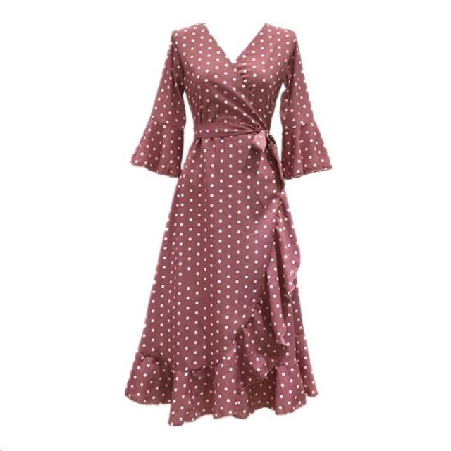 8fe8d882608 PERHAPS U pink red black mustard polka dot print v neck 3 4 flare sleeve