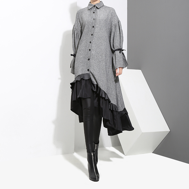 2017 Winter Women Plus Size Gray Shirt Dress Long Sleeve Patchwork Bottom With Sloping Ruffle Cute Wear Party Dress Vestido 3073